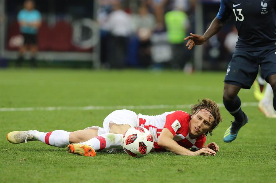Luka Modric of Croatia is seen during the 2018 FIFA World Cup final match between France and Croatia in Moscow, Russia, July 15, 2018. (Xinhua/Yang Lei)