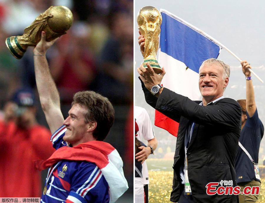 A combination picture shows Didier Deschamps holding the World Cup winner trophy as French soccer team captain on July 12, 1998 (L) at the Stade de France in Saint-Denis, France, and as French soccer team coach on July 15, 2018 (R) at Luzhniki Stadium in Moscow, Russia. (Photo/Agencies)