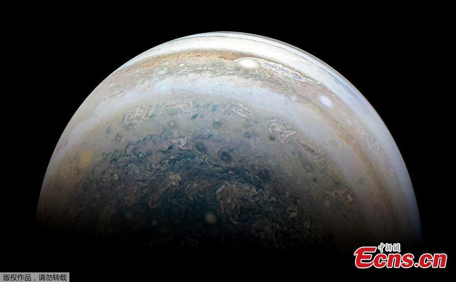 NASA\'s Juno spacecraft captures Jupiter\'s southern hemisphere, as the spacecraft performed its 13th close flyby of Jupiter on May 23, 2018.