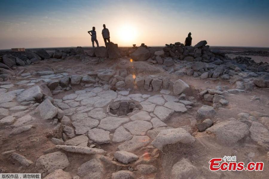 A stone structure at an archeological site containing a fireplace, seen in the middle, where charred remains of 14,500-year-old bread was found in the Black Desert, in northeastern Jordan in this photo provided on July 16, 2018. (Photo/Agencies)