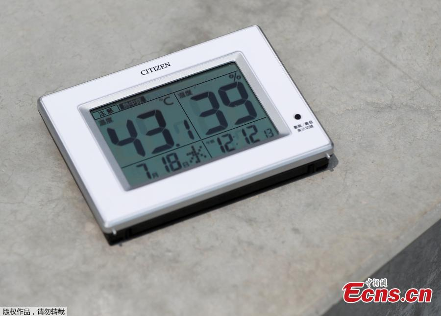 A temperature indicator measures 43.1 degrees Celsius, placed on the surface of the spectators\' stand at the construction site of the New National Stadium, the main stadium of Tokyo 2020 Olympics and Paralympics, during a media opportunity in Tokyo, Japan, July 18, 2018. As the two-year mark approaches for the Tokyo 2020 Olympics, Japan is being scorched by an intense heatwave that has prompted fears of similar extreme weather when the sporting showpiece takes place in the country. (Photo/Agencies)