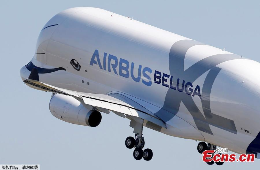 An Airbus Beluga XL transport plane is seen on the tarmac after its first flight event in Colomiers near Toulouse, France, July 19, 2018. (Photo/Agencies)
