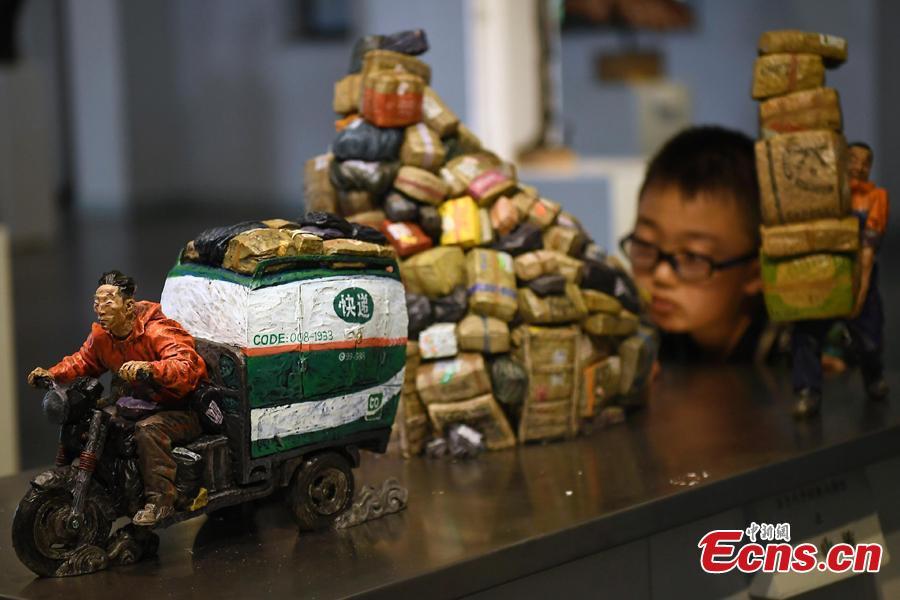 Photo taken on July 19, 2018 shows an international sculpture festival in Pingyao County, North China's Shanxi Province. More than 40 artists brought their sculpture works to the festival in the ancient town.(Photo: China News Service/Wei Liang)