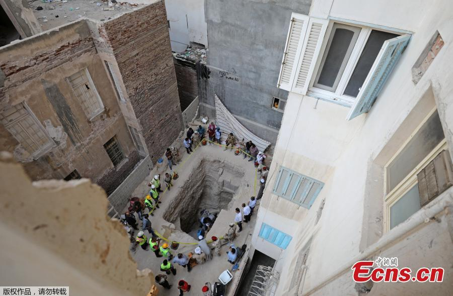 General view of the residential area where a coffin containing three mummies was discovered in Alexandria, Egypt July 19, 2018. (Photo/Agencies)