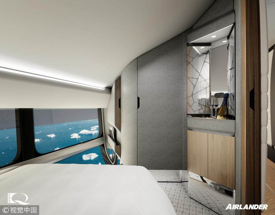 A view of one of the private ensuite bedrooms on Airlander 10, the world\'s longest aircraft. (Photo/VCG)