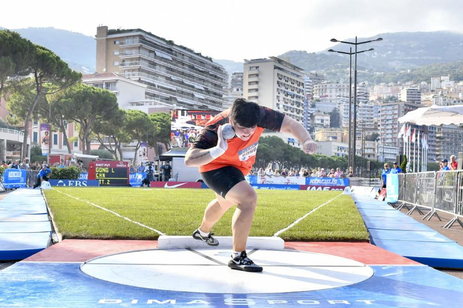 Gong Lijiao in action during the IAAF Diamond League Monaco meeting on July 19, 2018.  (Photo/Xinhua)