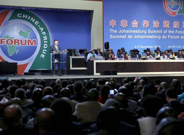 Chinese President Xi Jinping delivers a keynote speech during the opening ceremony of the Johannesburg Summit of the Forum on China-Africa Cooperation in Johannesburg, South Africa, Dec 4, 2015. (Photo/Xinhua) China and Africa should maintain equality, mutual trust and support for each other no matter how the international situation changes, and uphold the principle of win-win cooperation for common development no matter how volatile the economic situation is. ---in a keynote speech at the opening ceremony of the Johannesburg Summit of the Forum on China-Africa Cooperation (FOCAC), Dec 4, 2015