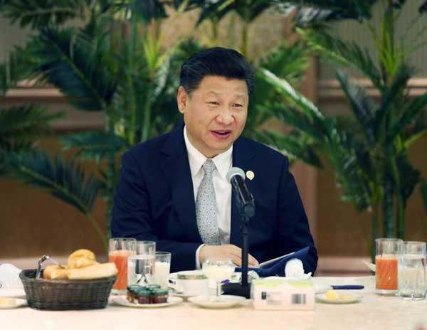 Chinese President Xi Jinping meets with leaders of 17 African countries in Johannesburg, South Africa on Dec 5, 2015. (Photo/Xinhua) China stands ready to play a constructive role in promoting political settlement of Africa\'s hot-spot issues, beef up cooperation with African countries on peace-keeping capability, and share its experience on reform, opening-up and economic growth with them. --- at a group meeting with leaders of 17 African countries in Johannesburg, South Africa, Dec 5, 2015
