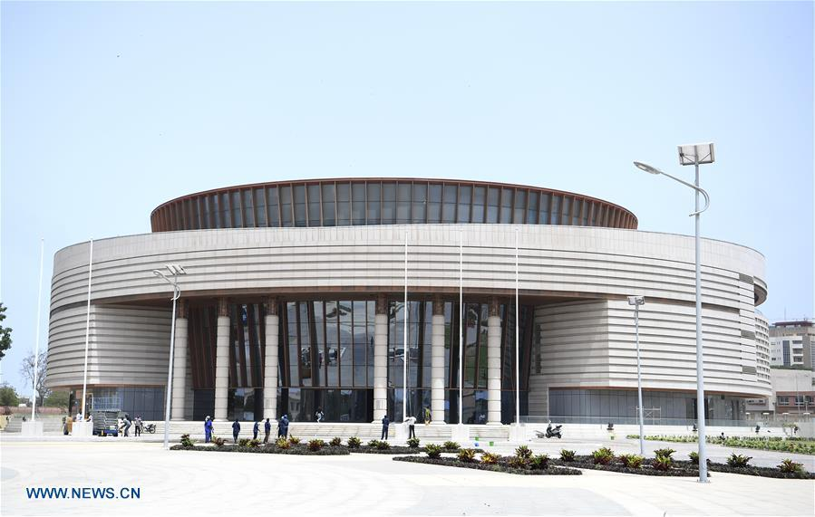Photo taken on July 18, 2018 shows the Museum of Black Civilization in Senegal\'s capital Dakar. China is now Senegal\'s second largest trading partner and biggest source of financing. The National Grand Theater, the Museum of Black Civilization and the National Wrestling Arena, built with Chinese assistance, stand as important venues to carry forward the culture and traditions of Senegal. (Xinhua/Yan Yan)
