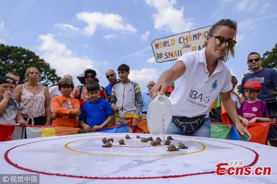 Snail Mistress Kirstie Smith waters the table as she oversees the races at the World Championship Snail Racing which was held at the Congham Village Fete on July 21, 2018 in King\'s Lynn, England. Over 100 snails have been taking part in the World Snail Racing Championships. Held in Congham near Kings Lynn, the championships which have been going for over 25 years form part of the village Fete to raise money for St Andrew\'s Church. (Photo/VCG)