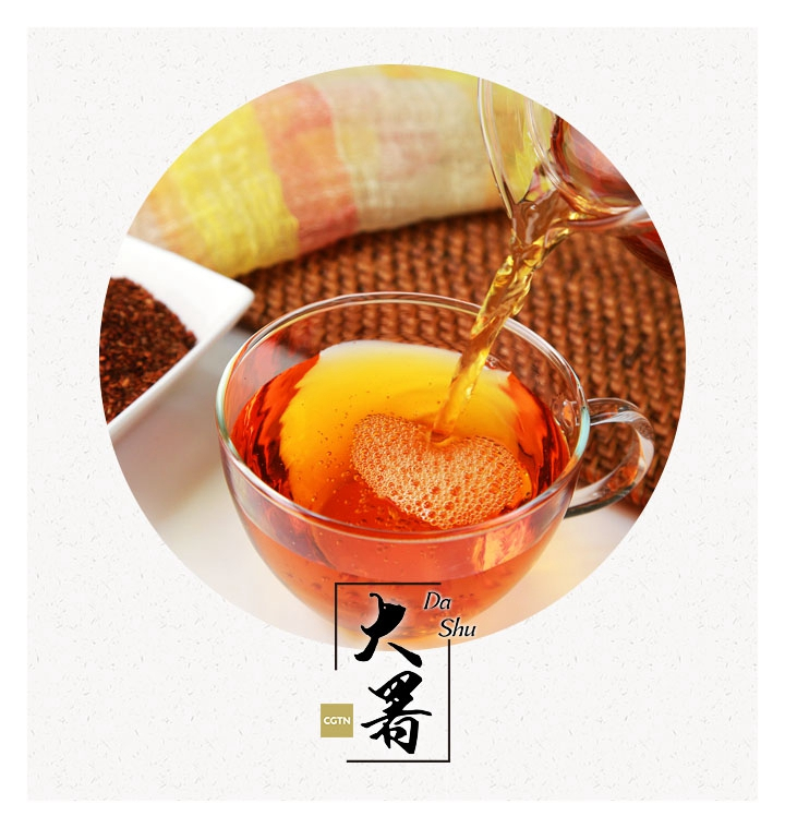 All for coolness and refreshing  During these scorching days, what do people do, especially during the ancient days when means of relaxation were so limited? (Photo/CGTN)  The traditions maintained until today have given us the answers. The ancestors left many cold desserts for the modern society ? for instance, the grass jelly ? which could still be easily found in almost every confectionery shop around the country.  They are made from boiled platostoma palustre and are usually served chilled with milk, ice cream and fruit today. Its bittersweet flavor is widely loved by the Chinese, and it is said to be helpful for the human body in such hot days.