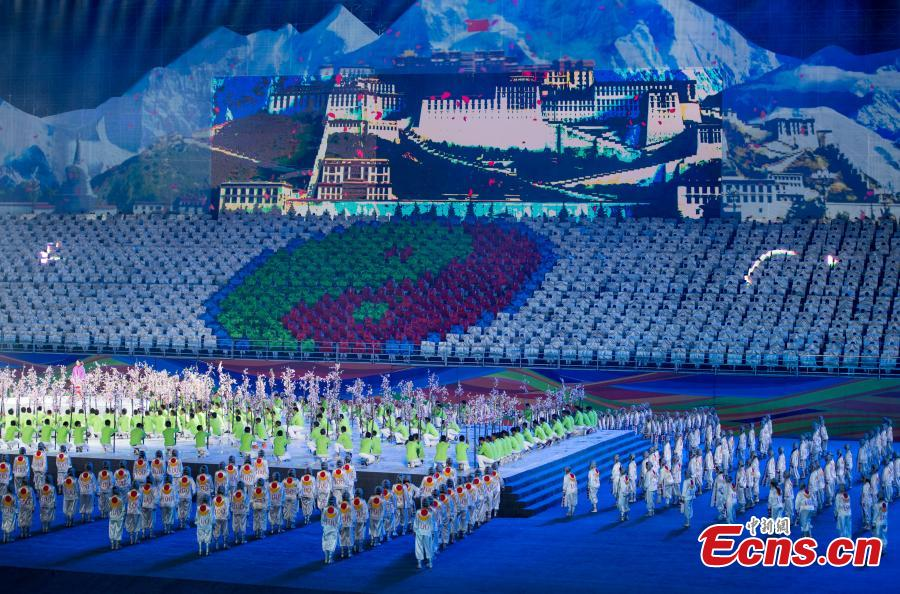 The opening ceremony for the 12th Sports Meet of Tibet Autonomous Region as well as the 4th National Traditional Ethnic Sports Meet in Lhasa, Tibet Autonomous Region, July 22, 2018. It is the largest sports meet in the autonomous region's history, with more than 1,200 athletes set to compete in nearly 100 events. (Photo: China News Service/He Penglei)