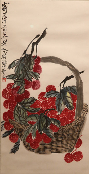 One of Qi Baishi\'s paintings on show. (Photo provided to China Daily)