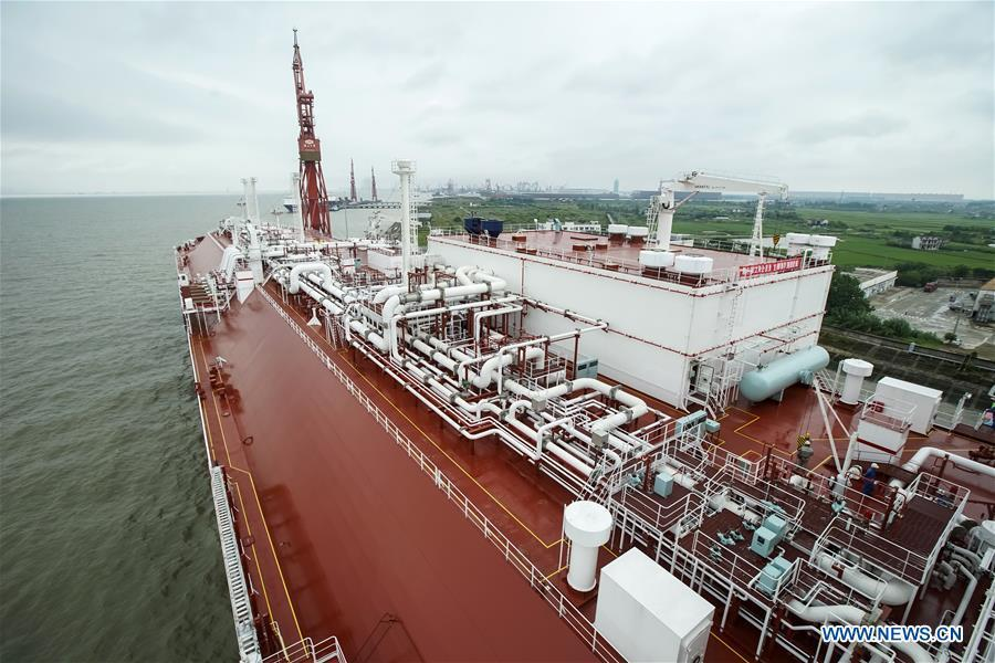 Photo taken on July 5, 2018 shows a ship of PULNG project at Hudong-Zhonghua Shipbuilding (Group) Co., Ltd. in east China\'s Shanghai. This year marks the 40th anniversary of China\'s reform and opening-up policy. (Xinhua/Shen Bohan)