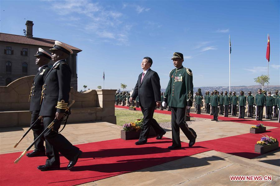 Chinese President Xi Jinping attends a welcoming ceremony held by his South African counterpart Cyril Ramaphosa ahead of their talks in Pretoria, South Africa, July 24, 2018. (Xinhua/Li Tao)