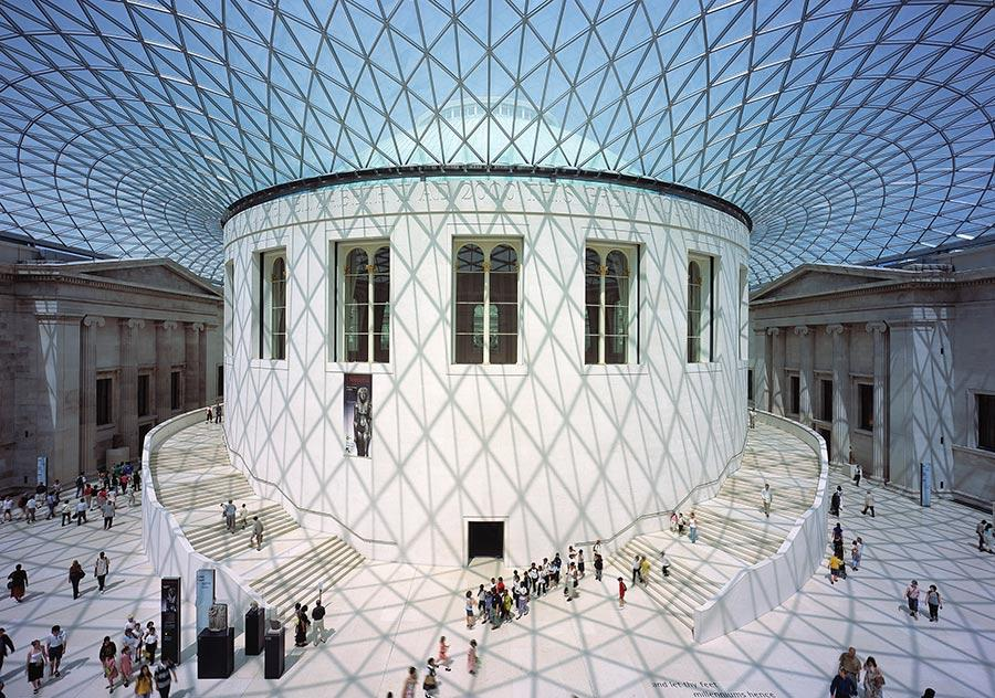 Great Court of the British Museum (Photo/Courtesy of Nigel Young, Foster + Partners)  Sustainable Communities   Shared Futures shows models, photos, renderings, hand-drawn sketches and videos of designs by Foster + Partners, the London-based firm which the 83-year-old Foster founded in 1967.  The exhibition brings together case studies from around the world, both those that have been completed and those still under construction, which examine how architects combine art and technology with the aim of both enhancing people\'s experience through space while reducing the amount of energy consumption and pollution through their practice.