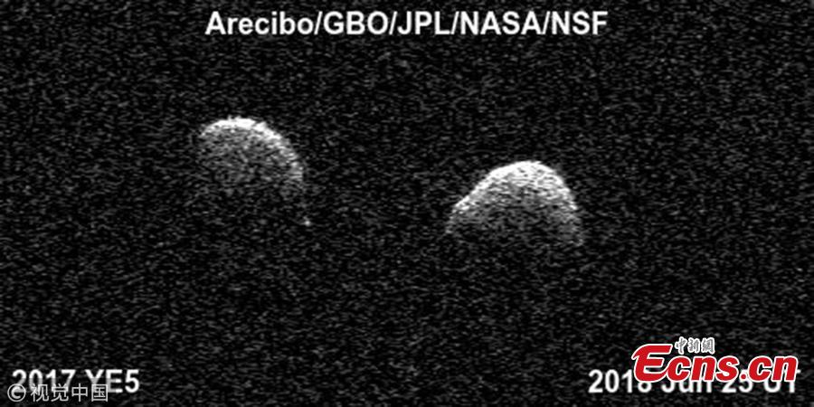 Bi-static radar images of the binary asteroid 2017 YE5 from the Arecibo Observatory and the Green Bank Observatory on June 25. (Photo/VCG)