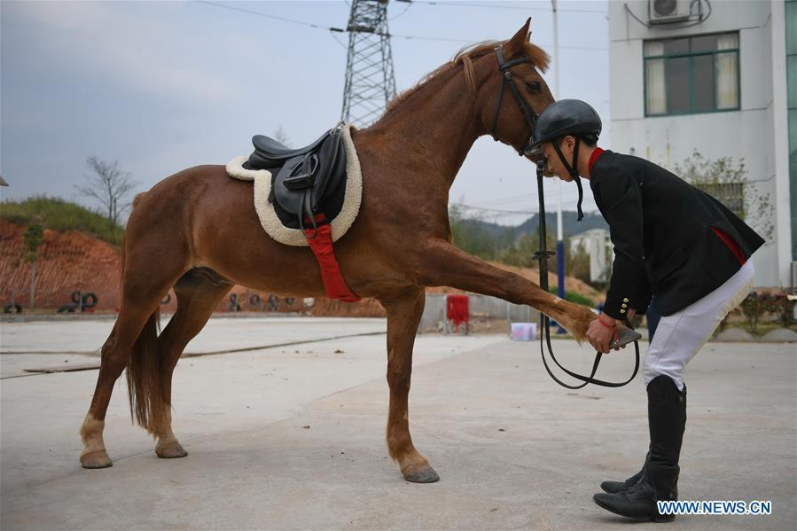 Huang Wanpeng, a student of Sunshine Riding School, helps a horse stretch itself prior to a training session in Yihuang County of Fuzhou, east China\'s Jiangxi Province, March 14, 2018. Equestrianism had never been heard of in Yihuang, an agricultural county in east China\'s Jiangxi Province, until Sunshine Riding School began recruiting rural teenagers in 2015. So far, most of the 90 students are working or aspiring to work in horse riding clubs in China\'s largest cities such as Beijing, Shanghai and Hangzhou. (Xinhua/Zhou Mi)