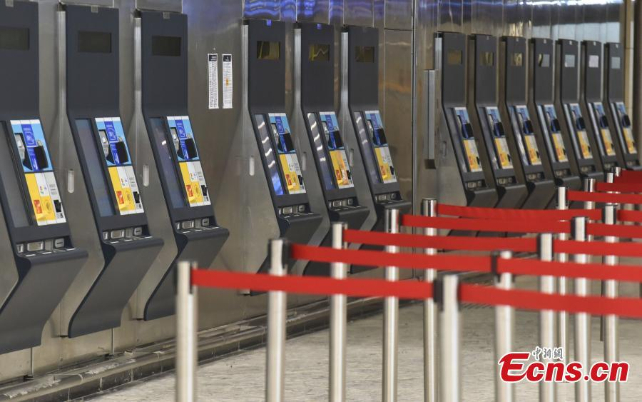 Photo taken on July 26, 2018 shows automated ticketing machines at the West Kowloon Station of the Guangzhou-Shenzhen-Hong Kong Express Rail Link that will open in September. The Hong Kong section of the Express Rail Link runs from the station in West Kowloon north to the Shenzhen-Hong Kong border, where it connects with the mainland section. (Photo: China News Service/Sheung Man Mak)