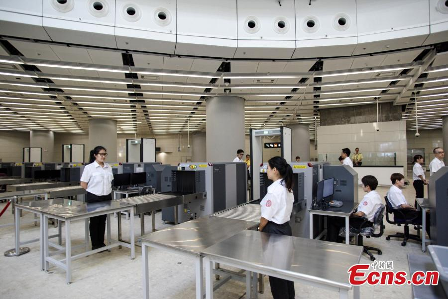 Photo taken on July 26, 2018 shows security checkpoints at the West Kowloon Station of the Guangzhou-Shenzhen-Hong Kong Express Rail Link that will open in September. The Hong Kong section of the Express Rail Link runs from the station in West Kowloon north to the Shenzhen-Hong Kong border, where it connects with the mainland section. (Photo: China News Service/Sheung Man Mak)