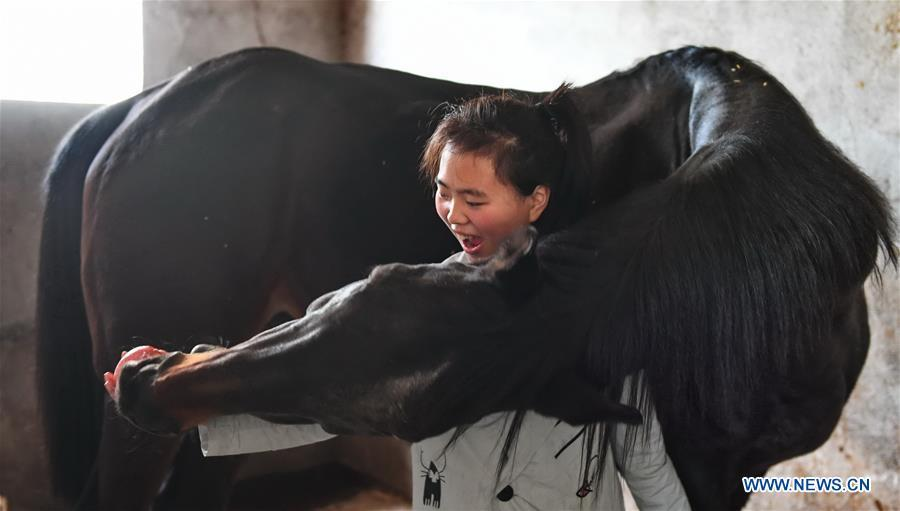 Tang Siqi, a student of Sunshine Riding School, feeds an apple to a horse in Yihuang County of Fuzhou, east China\'s Jiangxi Province, March 14, 2018. Equestrianism had never been heard of in Yihuang, an agricultural county in east China\'s Jiangxi Province, until Sunshine Riding School began recruiting rural teenagers in 2015. So far, most of the 90 students are working or aspiring to work in horse riding clubs in China\'s largest cities such as Beijing, Shanghai and Hangzhou. (Xinhua/Zhou Mi)