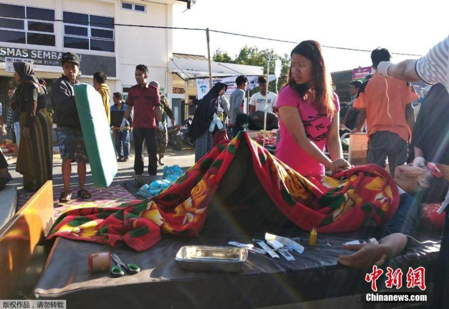 A 6.4-magnitude earthquake hits southwest of Lelongken in Indonesia on July 29, 2018. (Photo/China News Service)  At least three people died as a powerful 6.4-magnitude earthquake hit southwest of Lelongken.