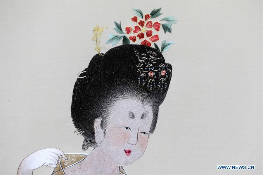 Photo taken on July 29, 2018 shows part of Suzhou embroidery version of a classic Chinese painting during an exhibition in Suzhou, east China\'s Jiangsu Province. The exhibition displayed Wang Qin\'s collections and creations of Suzhou embroidery version of classic Chinese painting works. (Xinhua/Yang Lei)