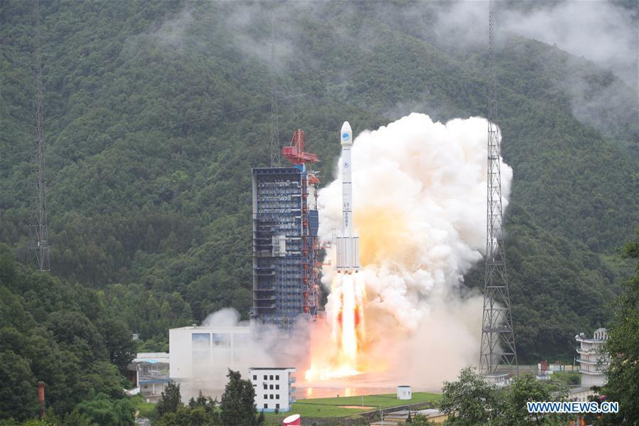 China sends twin satellites into space via the Long March-3B carrier rocket from Xichang Satellite Launch Center in Xichang, southwest China\'s Sichuan Province, July 29, 2018. The twin satellites are the 33rd and 34th of the BeiDou navigation system. (Xinhua/Liang Keyan)