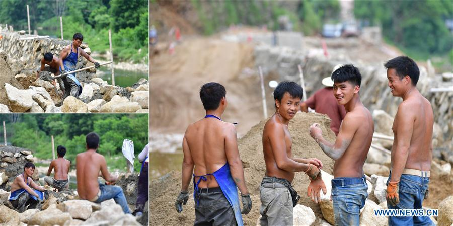 The combined photo taken on July 27, 2018 shows workers at the construction site of a road in Rongshui Miao Autonomous County, south China\'s Guangxi Zhuang Autonomous Region. The county government plans to build roads of 197 kilometers long before 2020, expecting to benefit over 260,000 people in 11 towns and villages. Due to harsh environmental conditions, Rongshui has long been a less developed area in China. Up to now, there are still 76,800 impoverished people living in the county. In recent years, the local government carries out effective methods for poverty alleviation, helping local people to build roads, repair houses, improve education and develop industry. (Xinhua/Huang Xiaobang)