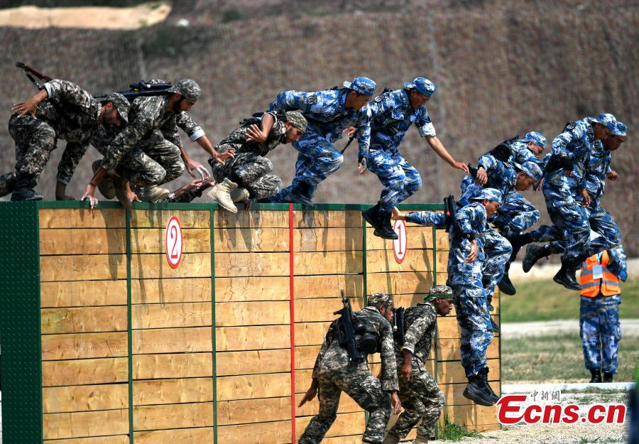 Chinese and Iranian soldiers participate in the \