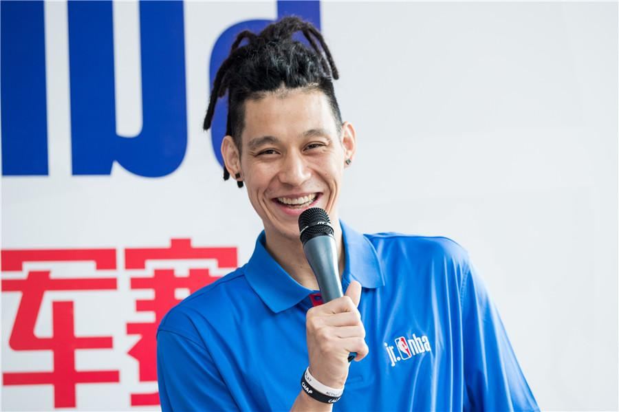 Jeremy Lin speaks at the opening ceremony of the training camp for the Jr. NBA World Championship in Beijing, June 28, 2018.  (Photo provided to chinadaily.com.cn)  Lin, who suffered a knee injury last season, told younger players the injury was a major hurdle that no one could have foreseen.  He shared his experience on recuperation, saying when adversity strikes, one needs to focus on solving the problem and be grateful to those who help.  The 29-year-old Chinese American also shared his observation on the development of Chinese youth basketball, saying China now has a lot of good coaches, and students also have chances to play all over the world, a big change over the years.  He also encouraged young people to practice more basic skills.