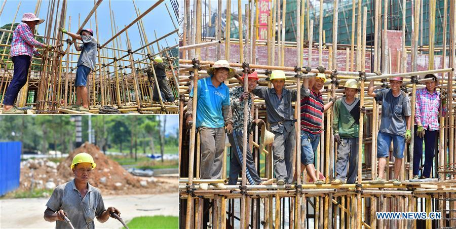 The combined photo taken on July 22, 2018 shows workers at the construction site of a resettlement site for relocated residents from poor areas in Rongshui Miao Autonomous County, south China\'s Guangxi Zhuang Autonomous Region. The resettlement project, started in July 2016, is planned to help over 8,000 impoverished villagers to relocate. Due to harsh environmental conditions, Rongshui has long been a less developed area in China. Up to now, there are still 76,800 impoverished people living in the county. In recent years, the local government carries out effective methods for poverty alleviation, helping local people to build roads, repair houses, improve education and develop industry. (Xinhua/Huang Xiaobang)