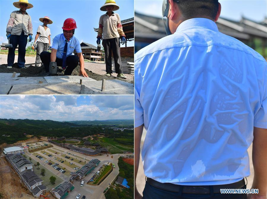 The combined photo shows the construction site of the Shuanglonggou Forest Tourist Resort in Rongshui Miao Autonomous County, south China\'s Guangxi Zhuang Autonomous Region, July 19, 2018 (L, bottom) and the vice general manager of the resort, Pan Guixian, instructs the workers at the construction site (L, top) with his shirt soaked by sweat in the summer heat (R), July 20, 2018. Due to harsh environmental conditions, Rongshui has long been a less developed area in China. Up to now, there are still 76,800 impoverished people living in the county. In recent years, the local government carries out effective methods for poverty alleviation, helping local people to build roads, repair houses, improve education and develop industry. (Xinhua/Huang Xiaobang)