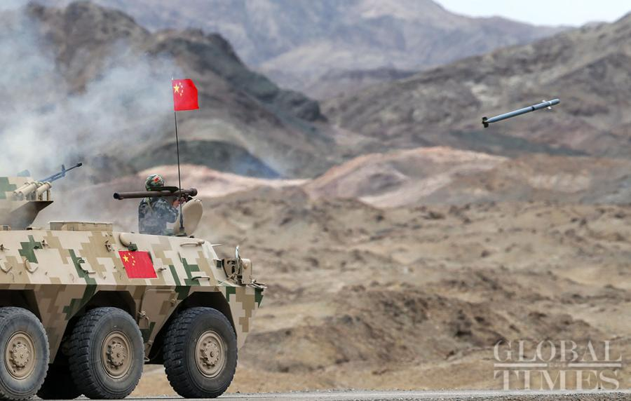 "The Chinese Air defense force detachment has secured a leading position over its competitors from Belarus, Egypt, Pakistan,Russia, Uzbekistan and Venezuela in the ""clear sky for air defense missile operators"" segment of the International Army Games 2018 in Korla, Northwest China\'s Xinjiang Uyghur Autonomous Region on Tuesday. (Photos: Cui Meng/GT)"