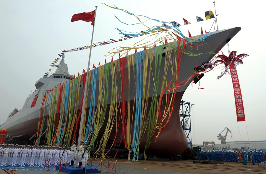 A launch ceremony for China\'s new-generation guided-missile destroyer is held in Shanghai on June 28, 2017. (Photo by Pu Haiyang/For China Daily)  China launched a new domestically developed destroyer in Shanghai on June 28, 2017, marking a milestone in building a strong and modern naval force.  The ship is the first of the country\'s new-generation guided-missile destroyer class, with a full displacement of around 10,000 metric tons.  It is called one of the largest and mightiest of its kind in the world.