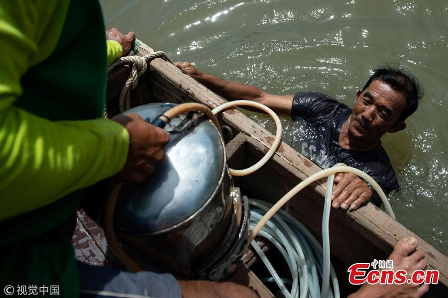 This photo taken on June 12, 2018 shows Bhoomin Samang emerging from a dive into Bangkok\'s Chao Phraya river to hunt for sunken treasure. There is a small community in Thailand known as \'Indiana Jones\' divers, who brave the inky-black underworld of the trash-filled waterway in search of coins, china, jewelry and scrap metal.(Photo/VCG)