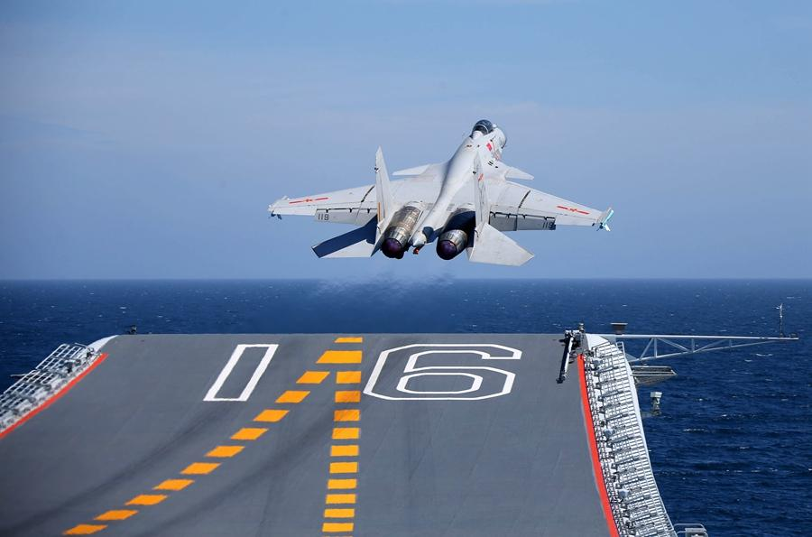 A J-15 fighter jet undertakes training aboard aircraft carrier Liaoning during a drill on April 20, 2018. (Photo by Li Tang/Provided to chinadaily.com.cn)  During the past decades, the PLA has spared no effort to modernize and strengthen its capabilities as a fighting force. It gradually developed its own tanks, aircraft and ships to replace weapons bought from other countries.