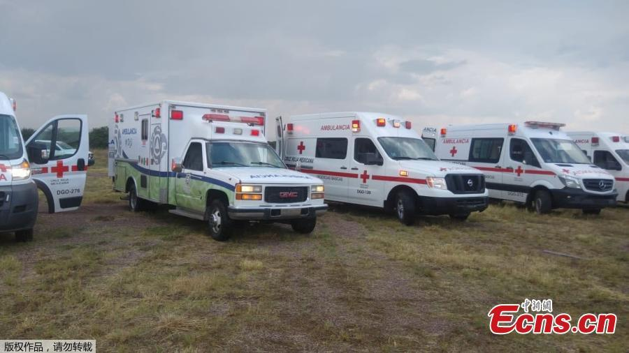 Ambulances are parked at the site where an Aeromexico-operated Embraer passenger jet crashed in Mexico\'s northern state of Durango, July 31, 2018, in this picture.(Photo/Agencies)