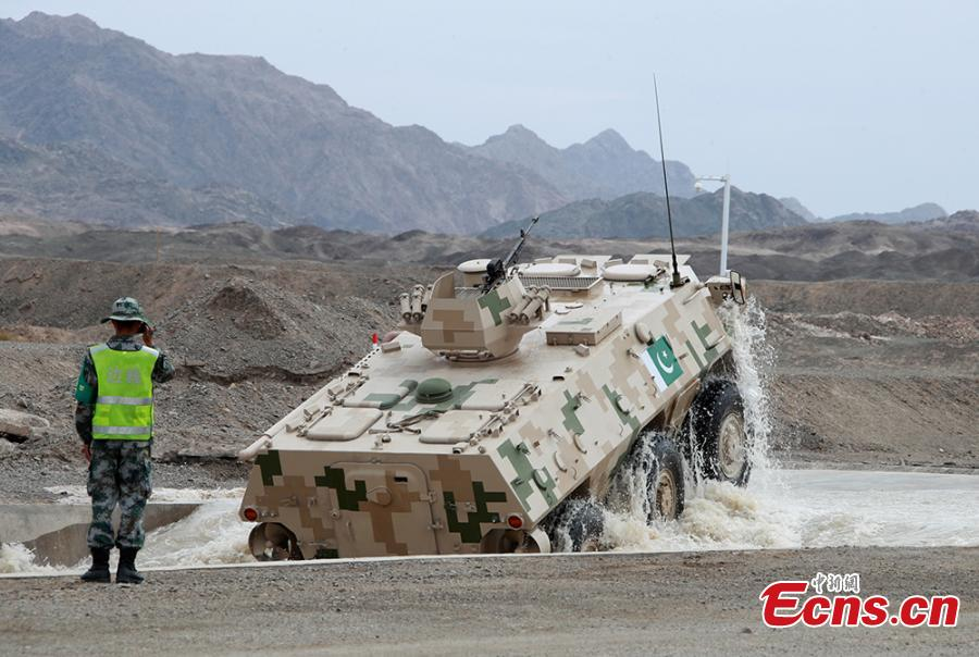 A military vehicle during a contest at the International Army Games 2018 in Korla in Xinjiang Uygur Autonomous Region, July 31, 2018. China beat six other teams to win the contest. Three of the tournament events - \