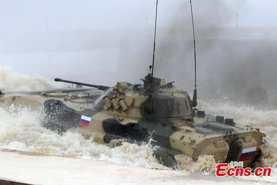 A Russian infantry fighting vehicle during the \