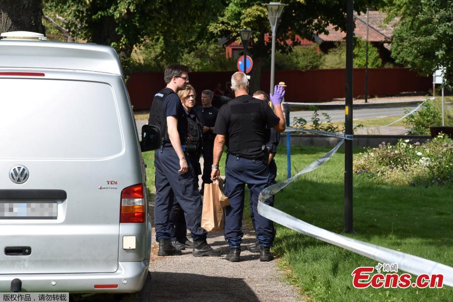 Police officers work at the scene after thieves stole royal crowns from the 17th century from Strangnas Cathedral, in Strangnas, Sweden July 31, 2018.(Photo/Agencies)