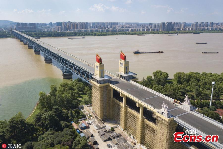 A view of the Nanjing Yangtze River Bridge, which has been undergoing renovations for 21 months, in Nanjing City, East China's Jiangsu Province, Aug. 2, 2018. Built in 1968, the bridge was hailed an engineering breakthrough and became the pride of the nation at the time. It was closed in 2016 for the renovation project. (Photo/IC)