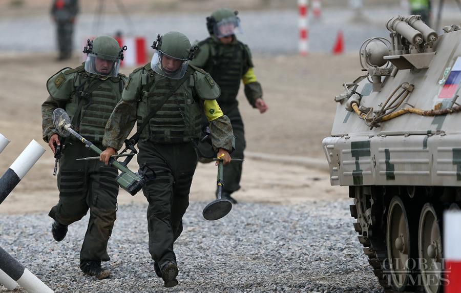 The Russian soldiers participate in the Safe Route Competition in Korla on August 2. Photo: Cui Meng/GT