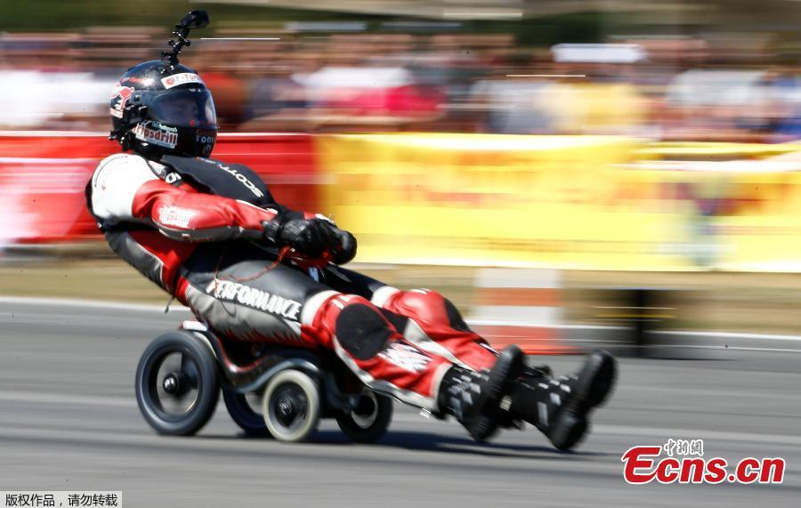 German extreme athlete Dirk Auer drives on his jet-powered Bobby car to set a new world record at 119.68 km/h during an airport racing event in Bottrop-Kirchhellen, western Germany, Aug. 5, 2018. (Photo/Agencies)