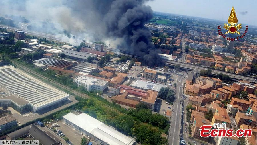 This photo released by the Italian firefighters shows a helicopter view of the explosion on a highway in the outskirts of Bologna, Italy, Aug. 6, 2018. The explosion killed at least two people and injured up to 70 as a section of the thoroughfare collapsed, police said. (Photo/Agencies)