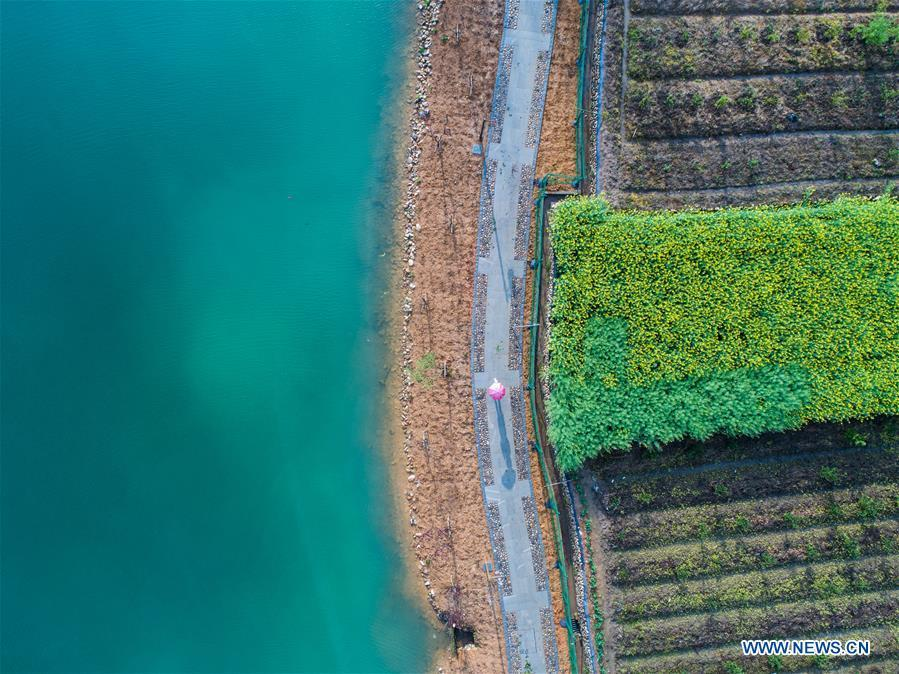 Aerial photo taken on April 3, 2018 shows the view of a wetland park in Fenkou Town of Chun\'an County in Hangzhou, east China\'s Zhejiang Province. The wetland park which covers an area of over 33 hectares is the highlight project of environmental improvement in Fenkou Town. (Xinhua/Xu Yu)