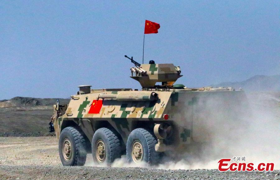 A Chinese military vehicle takes part in the \