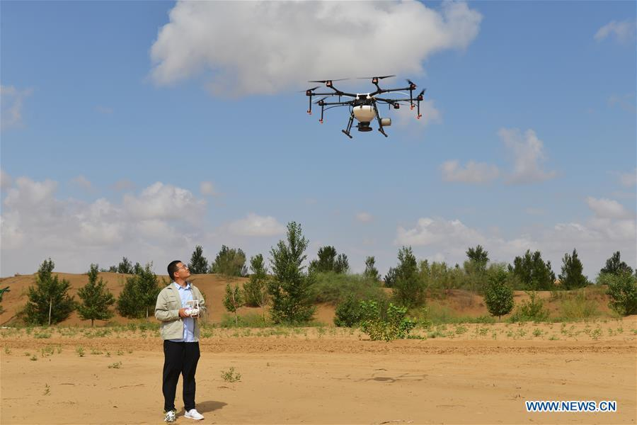 A technician controls a drone to sow seeds at the Kubuqi Desert, north China\'s Inner Mongolia Autonomous Region, July 24, 2018. Kubuqi, the seventh largest desert in China, is a good example of China\'s success in alleviating desertification. About 6,460 square kilometers of the Kubuqi desert has been reclaimed in the last 30 years. (Xinhua/Zou Yu)
