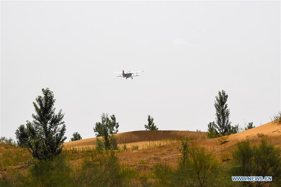 A plane flies in the air to sow seeds at the Kubuqi Desert in Erdos, north China\'s Inner Mongolia Autonomous Region, July 11, 2018. Kubuqi, the seventh largest desert in China, is a good example of China\'s success in alleviating desertification. About 6,460 square kilometers of the Kubuqi desert has been reclaimed in the last 30 years. (Xinhua/Peng Yuan)