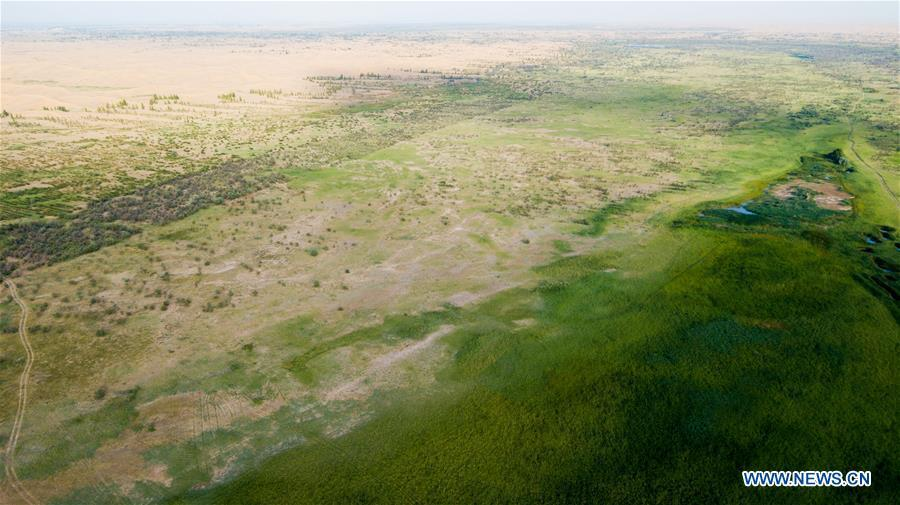 Aerial photo taken on July 11, 2018 shows the view of eco-environment restoration at the Kubuqi Desert in Hangjin Banner, north China\'s Inner Mongolia Autonomous Region. Kubuqi, the seventh largest desert in China, is a good example of China\'s success in alleviating desertification. About 6,460 square kilometers of the Kubuqi desert has been reclaimed in the last 30 years. (Xinhua/Peng Yuan)